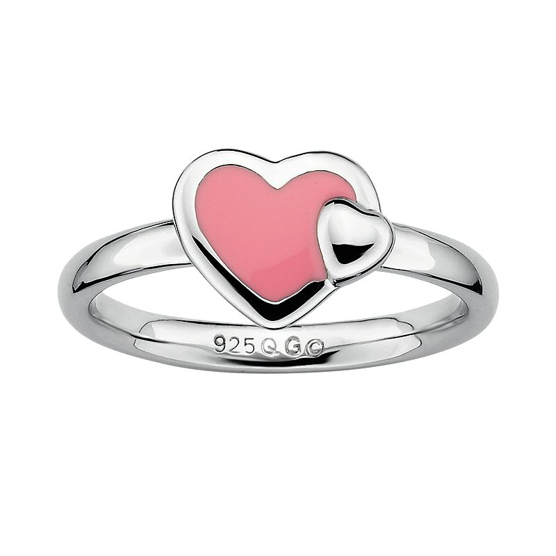 Stacks and Stones Sterling Silver Pink Enamel Heart Stack Ring