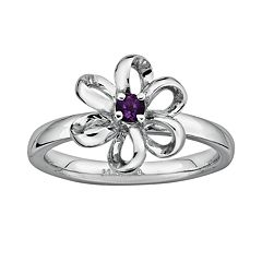Stacks & Stones Sterling Silver Amethyst Flower Stack Ring by