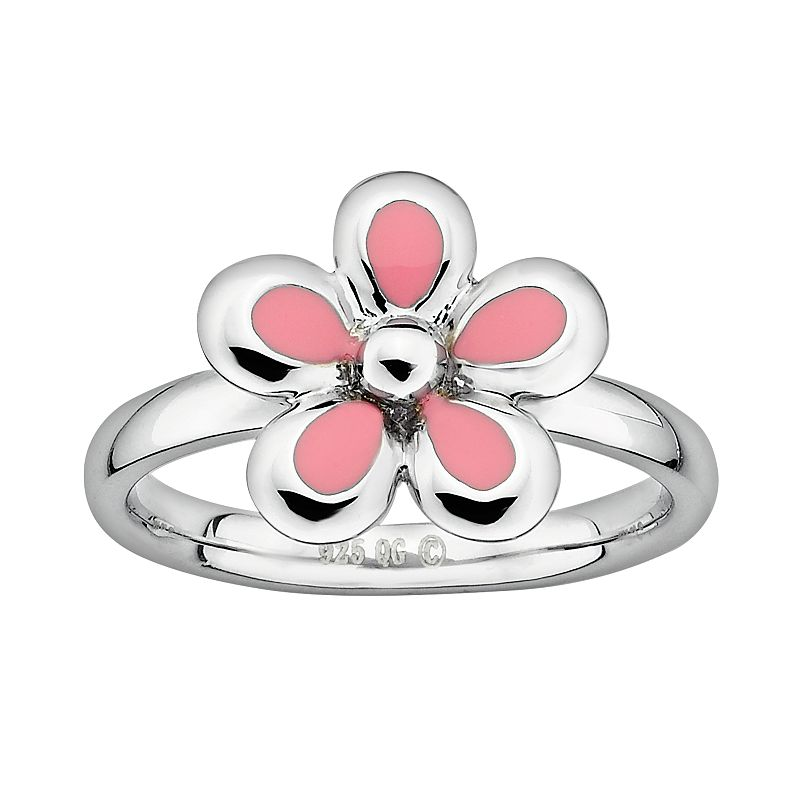 Stacks and Stones Sterling Silver Pink Enamel Flower Stack Ring