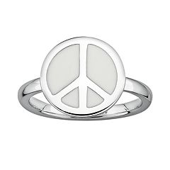 Stacks & Stones Sterling Silver White Enamel Peace Sign Stack Ring