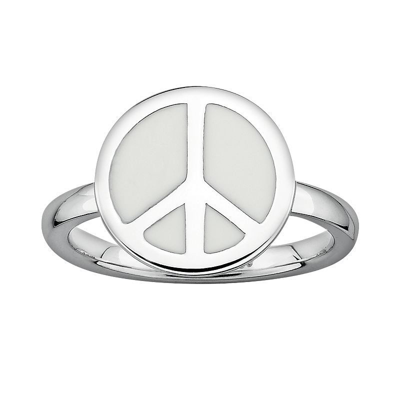 Stacks and Stones Sterling Silver White Enamel Peace Sign Stack Ring