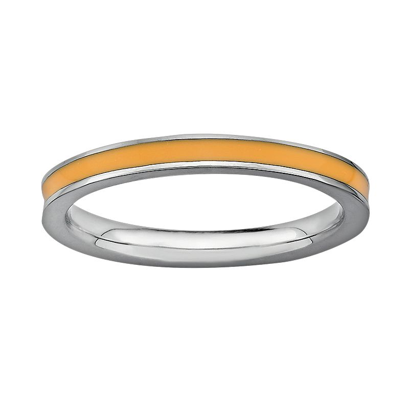 Stacks and Stones Sterling Silver Orange Enamel Stack Ring