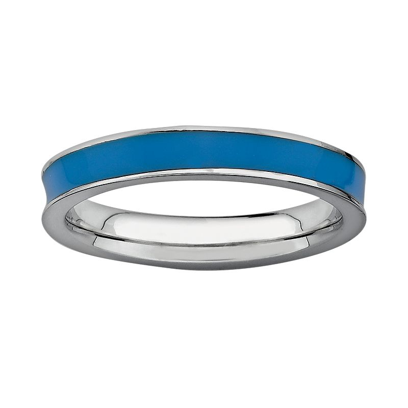 Stacks and Stones Sterling Silver Blue Enamel Stack Ring