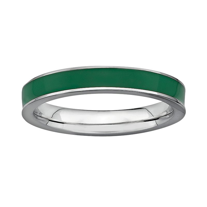 Stacks and Stones Sterling Silver Green Enamel Stack Ring