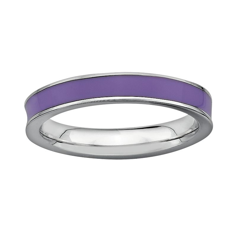Stacks and Stones Sterling Silver Purple Enamel Stack Ring