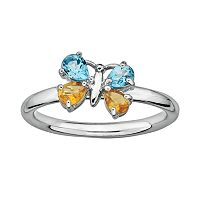 Stacks & Stones Sterling Silver Blue Topaz & Citrine Butterfly Stack Ring