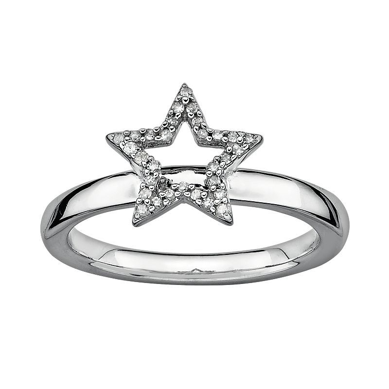 Stacks and Stones Sterling Silver 1/10-ct. T.W. Diamond Star Stack Ring