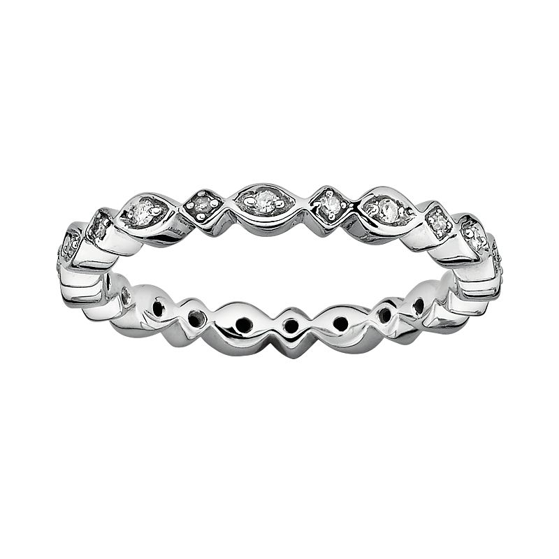 Stacks and Stones Sterling Silver Diamond Accent Eternity Stack Ring