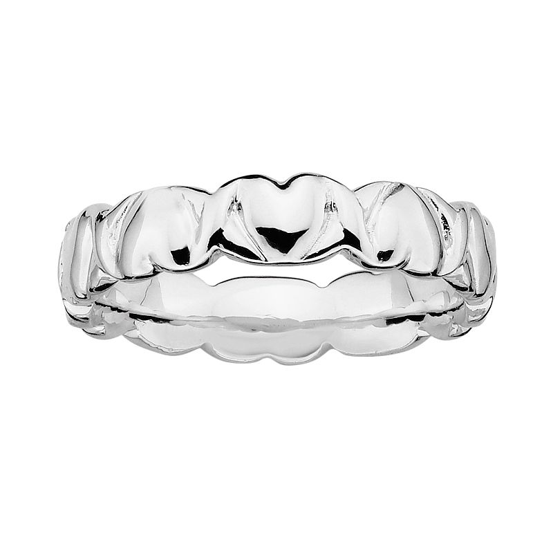 Stacks and Stones Sterling Silver Heart Stack Ring