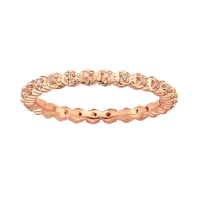 Stacks and Stones 18k Rose Gold Over Silver Diamond Accent Stack Ring