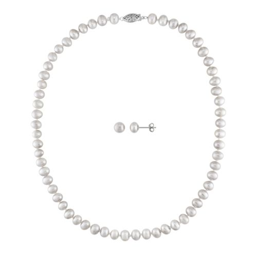 Sterling Silver Freshwater Cultured Pearl Necklace and Stud Earring Set