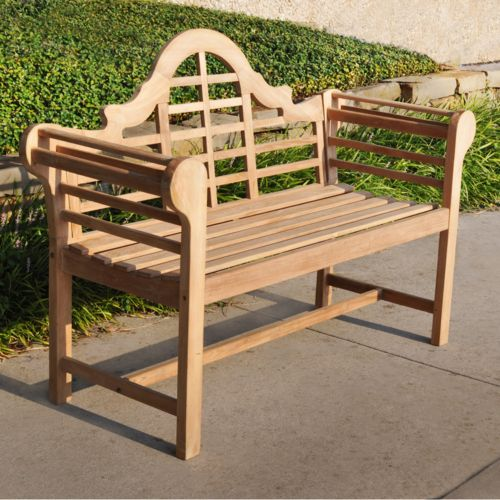 Teak Lutyen's Patio Bench - Outdoor