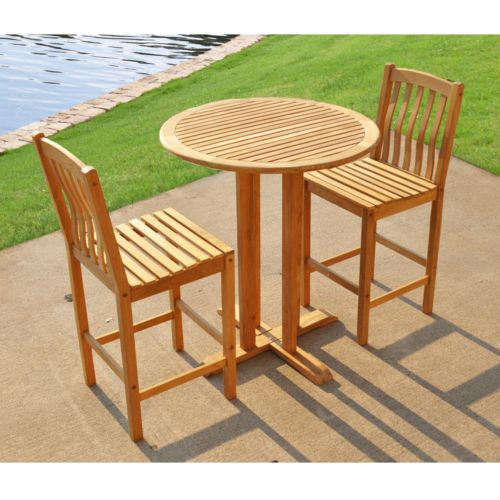 Teak 3-pc. Patio Bar Set - Outdoor