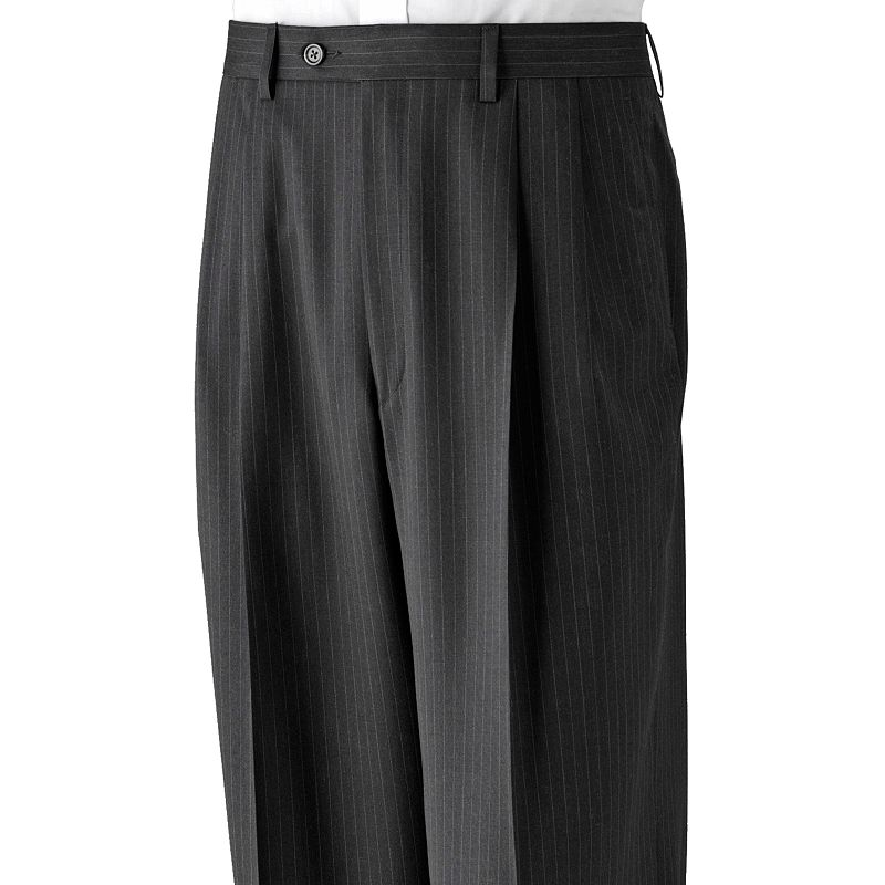 Big & Tall Chaps Striped Deco Wool Pleated Charcoal Suit Pants