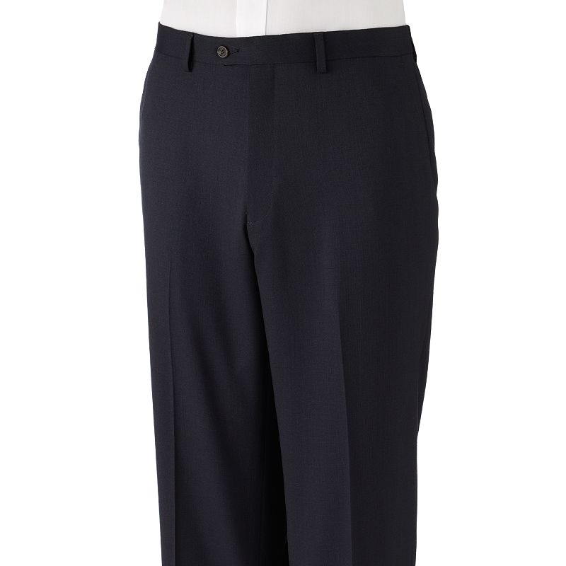 Big & Tall Chaps Classic-Fit Pindot Flat-Front Navy Suit Pants