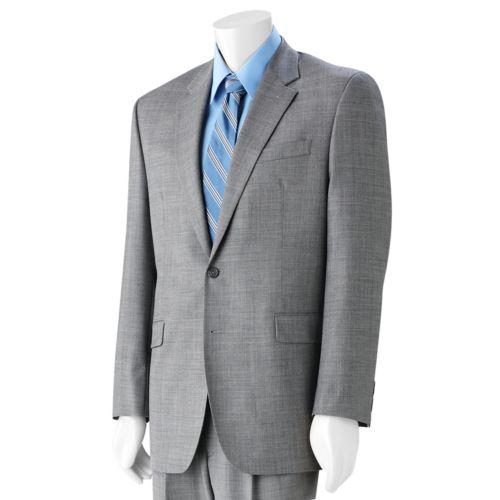 Big & Tall Chaps Gray Sharkskin Wool Gray Suit Jacket