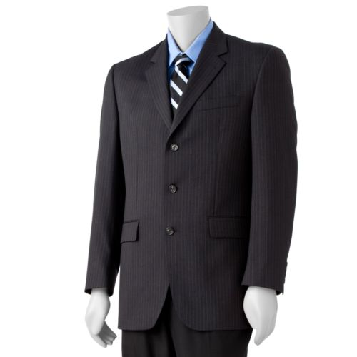 Big & Tall Chaps Striped Deco Wool Charcoal Suit Jacket