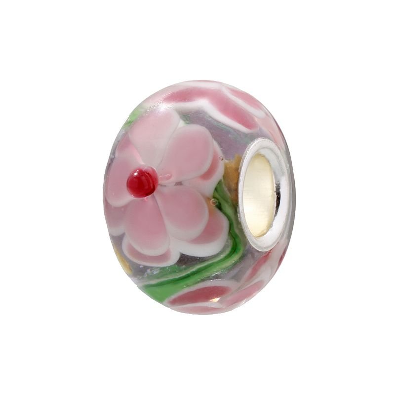 Individuality Beads Green and Pink Flower Glass Bead