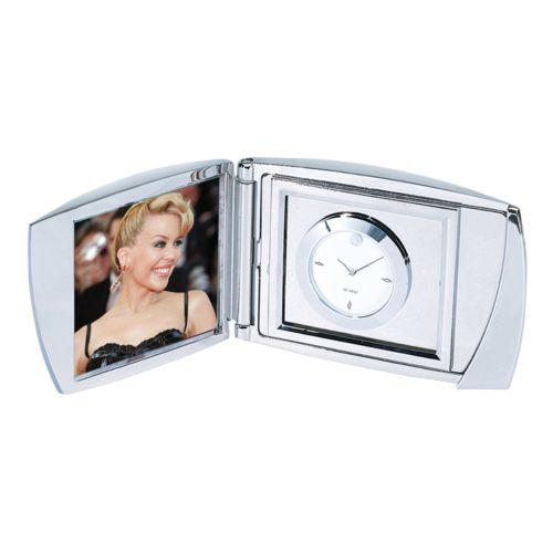 Silver Folding Analog Clock and Photo Frame