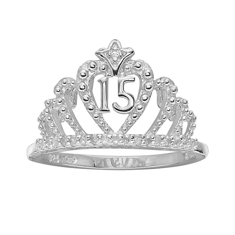 Precious Moments Sterling Silver Diamond Accent 15 Quinceanera Crown Ring