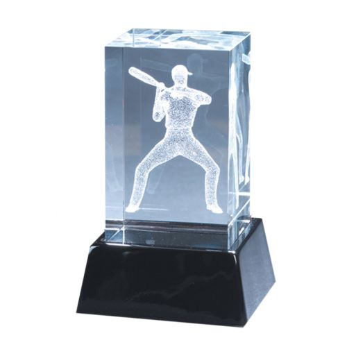 Crystal Baseball Player Sculpture