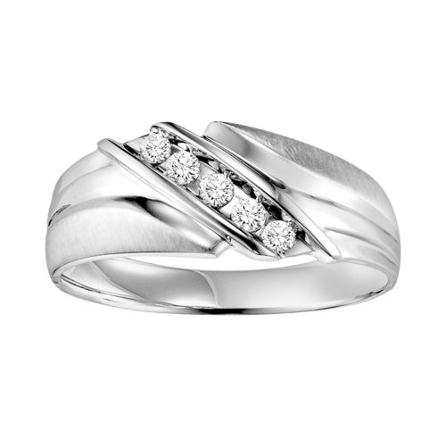 Cherish Always 10k White Gold 1/4-ct. T.W. Diamond Wedding Band - Men