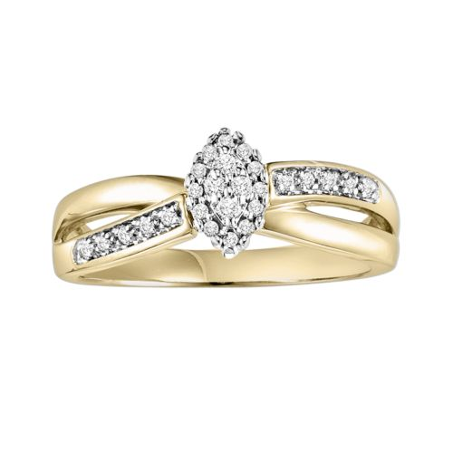 Cherish Always Round-Cut Diamond Crisscross Engagement Ring in 10k Gold Two Tone (1/6 ct. T.W.)