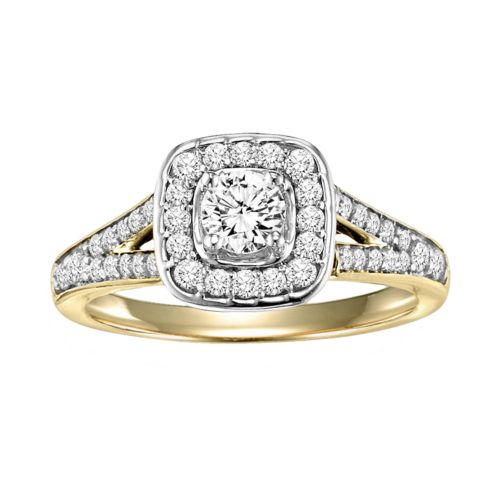 Cherish Always Round-Cut Diamond Frame Engagement Ring in 10k Gold Two Tone (3/4 ct. T.W.)