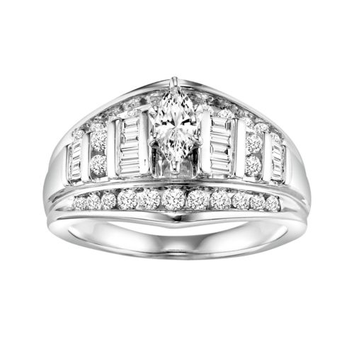 Cherish Always Marquise-Cut Diamond Engagement Ring in 10k White Gold (1 ct. T.W.)