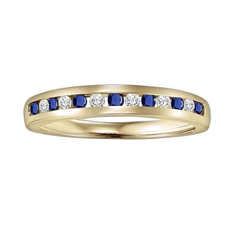 Cherish Always 10k Gold 1/3-ct. T.W. Diamond and Sapphire Wedding Ring