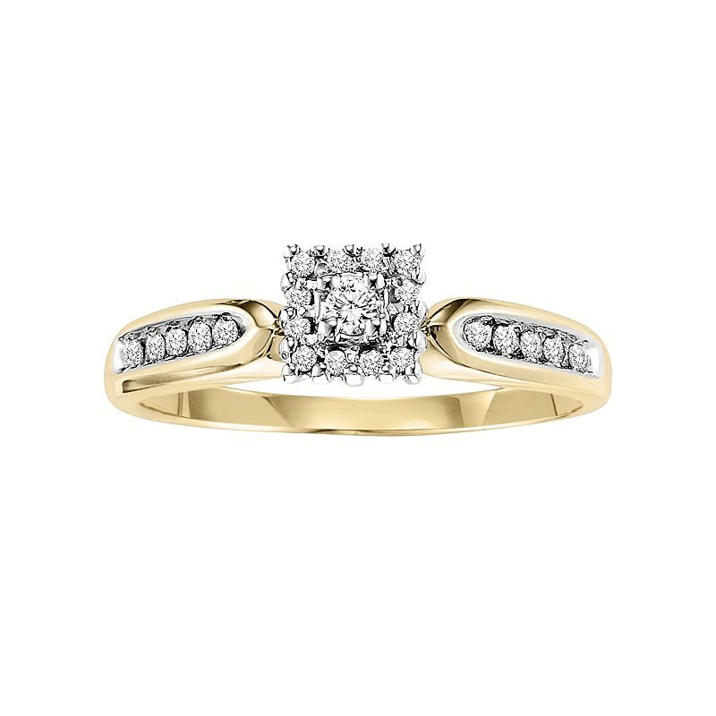Cherish Always Round-Cut Diamond Cluster Engagement Ring in 10k Gold Two Tone (1/5-ct. T.W.)