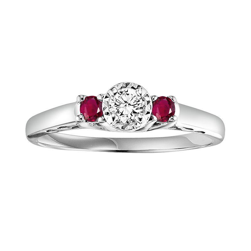 Cherish Always Round Cut Diamond and Ruby Engagement Ring in 10k White Gold (1/6 ct. T.W.)