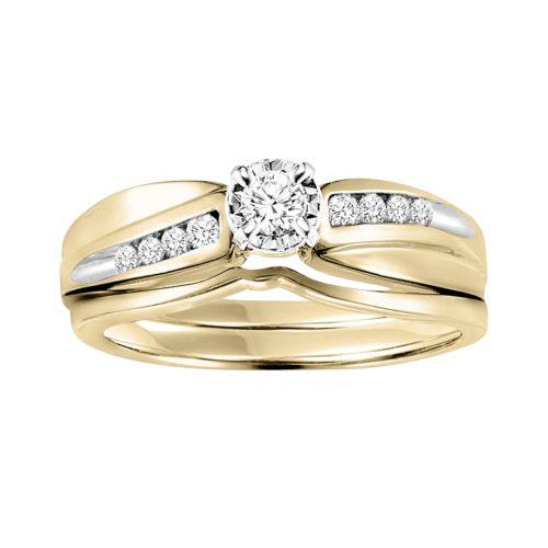 Cherish Always Round-Cut Diamond Engagement Ring Set in 14k Gold Two Tone (1/5 ct. T.W.)