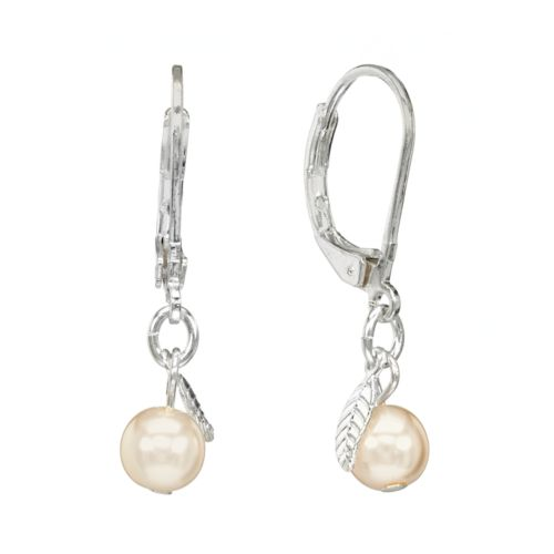LC Lauren Conrad Leaf Charm Drop Earrings