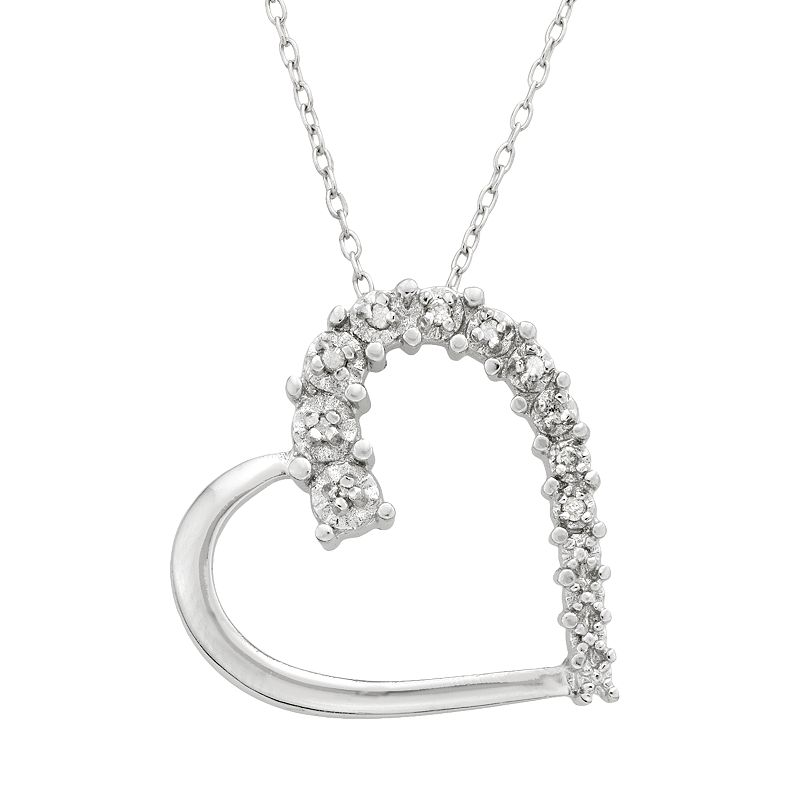 Sterling Silver 1/10-ct. T.W. Diamond Heart Pendant