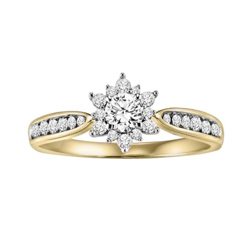 Cherish Always Diamond Starburst Engagement Ring in 10k Gold (1/2 Carat T.W.)