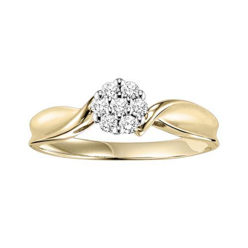 Cherish Always Round-Cut Diamond Flower Twist Engagement Ring in 10k Gold (1/5 ct. T.W.)