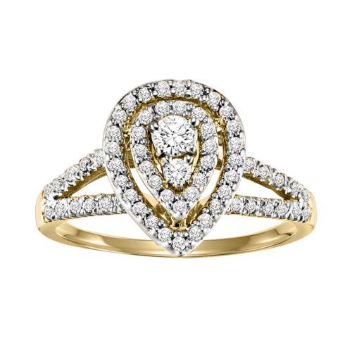Cherish Always Round-Cut Teardrop Frame Diamond Engagement Ring in 10k Gold (1/2 ct. T.W.)