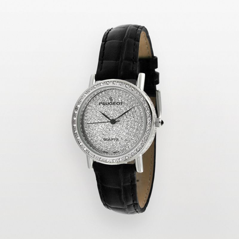 Peugeot Women's Crystal Leather Watch - J1287M, Black thumbnail