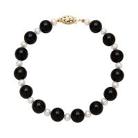 14k Gold Freshwater Cultured Pearl & Onyx Bead Bracelet