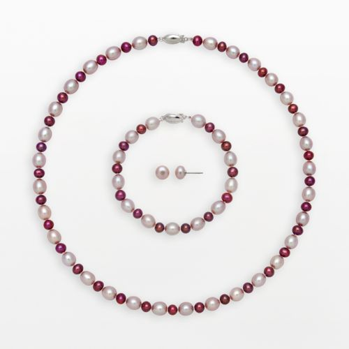 Sterling Silver Dyed Freshwater Cultured Pearl Necklace, Bracelet and Stud Earring Set
