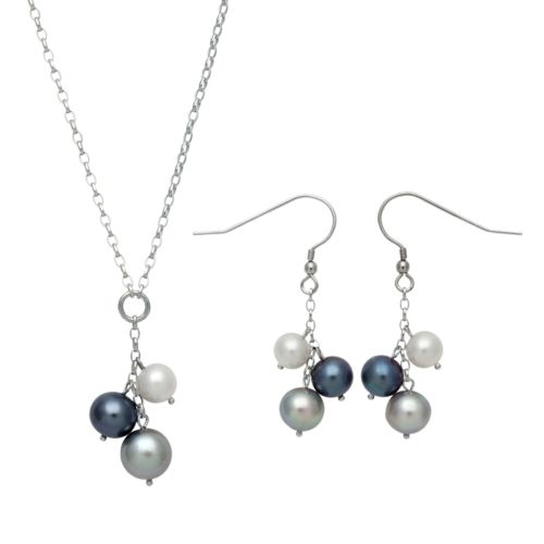 Sterling Silver Dyed Freshwater Cultured Pearl Cluster Y Necklace and Drop Earring Set