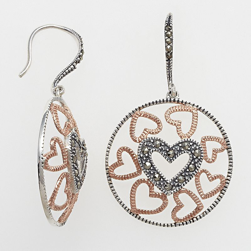 Lavish by TJM 14k Rose Gold Over Silver and Sterling Silver Heart Openwork Drop Earrings - Made with Swarovski Marcasite
