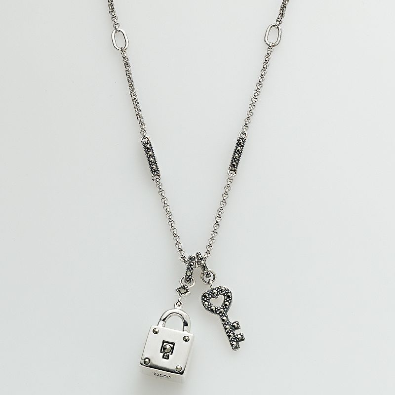 Lavish by TJM Sterling Silver Lock and Heart Key Pendant - Made with Swarovski Marcasite