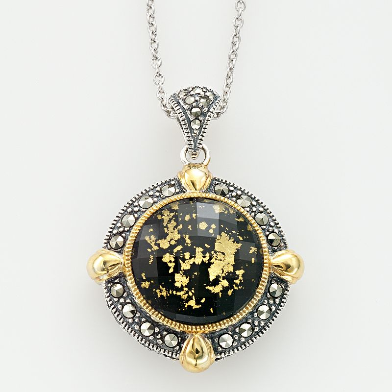 Lavish by TJM 14k Gold Over Silver and Sterling Silver Crystal and Onyx Doublet Frame Pendant - Made with Swarovski Marcasite