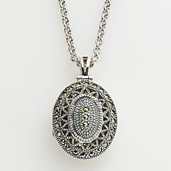 Lavish by TJM Sterling Silver Openwork Oval Locket Made with Swarovski Marcasite by