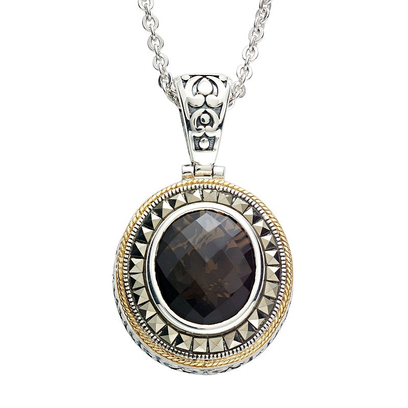 Lavish by TJM 14k Gold Over Silver and Sterling Silver Smoky Quartz Frame Pendant - Made with Swarovski Marcasite