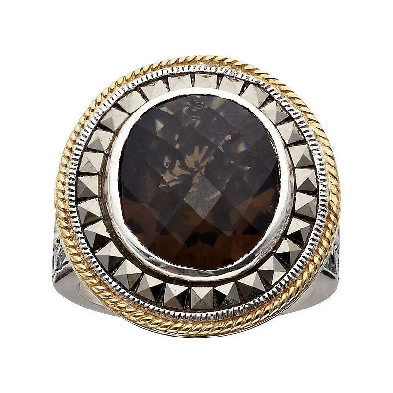 Lavish by TJM 14k Gold Over Silver and Sterling Silver Smoky Quartz Frame Ring - Made with Swarovski Marcasite