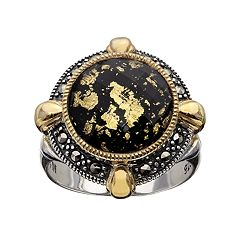 Lavish by TJM 14k Gold Over Silver & Sterling Silver Crystal & Onyx Doublet Frame Ring Made with Swarovski Marcasite