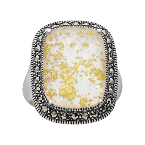 Lavish by TJM Sterling Silver Crystal and Mother-of-Pearl Doublet Frame Ring - Made with Swarovski Marcasite